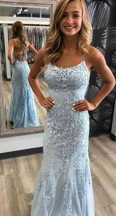 Mermaid Long Prom Dress with Applqiue and Beading, Popular Sweet 16 Dr – PromDressForGirl