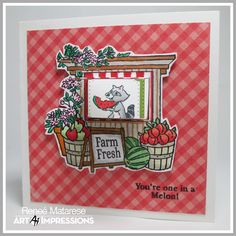 Renlymat's World:  4970 – Produce Stand MTF from Art Impressions Mini TryFold line.  Handmade thank you card.