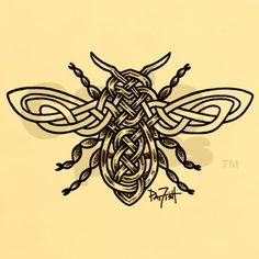 Celtic Knotwork Bee - black lines T-Shirt on CafePress.com