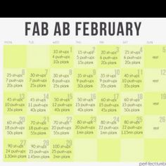 February workout plan... I'm going to do this! I already put it in my planner!