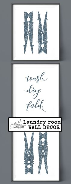 Set of 3 Laundry Room Decor, Wash Dry Fold, Printable Artwork, Utility Room Digital Prints, Multiple Colors Art Crafts, Word Art, Printable Wall Art, Fine Art Paper, Laundry Room, Gift Guide, Digital Prints, Promotion, Poster Prints
