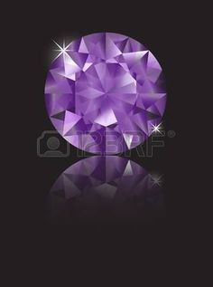 A brilliant cut amethyst isolated on black with reflection. Space for text. EPS10 vector format