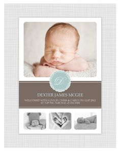Boys Photo Birth Announcement. I Customize, You Print.. $15.99, via Etsy.