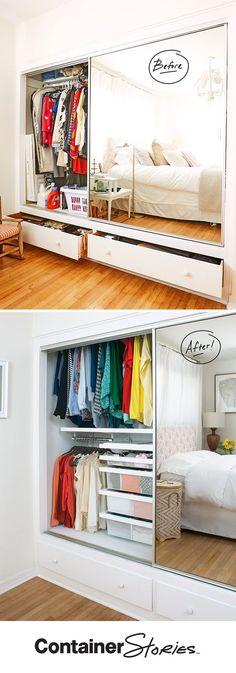 See how elfa transformed this reach-in closet. Now Farrah's entire wardrobe can be seen and accessed without hassle. She has double the hanging space and can find what she's looking for.