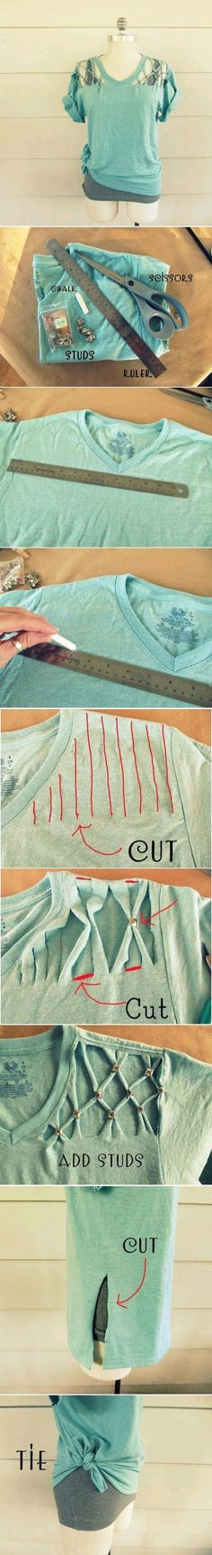 I wouldnt do the bottom part but i love the shoulders Diy Wedding Projects, Easy Diy Projects, Sewing Crafts, Diy Crafts, Diy Upcycled Tees, Studded Shirt, Fashion Diva Design, Diy Clothes Refashion, Diy Clothing