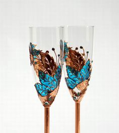 Champagne Toasting Flutes Copper and Turquoise