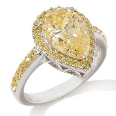 Jean Dousset 3.53ct Absolute™ Canary Pear-Cut Pavé Ring at HSN.com