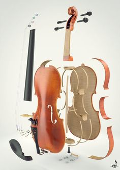 Exploded view of violin and bow by John Streider