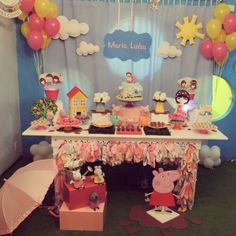 Festa peppa - decoracao daniscrap party Happy Birthday Baby, Pig Birthday, 4th Birthday Parties, Birthday Party Decorations, Party Themes, Birthday Ideas, Party Ideas, Clown Party, Pig Party