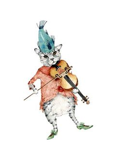 Cat Print Cat Fiddle Illustration print 8x11 by ChasingtheCrayon
