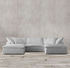 To order if it fits - Downstairs media room. We want the sectional as shown in this photo in luxe depth, washed belgian linen, in color mist.