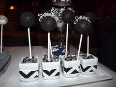 black Cake pops with name on them