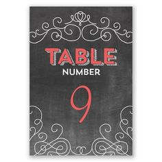 Chalkboard Chatter - Table Number | Antique Typography Filigree at Invitations By David's Bridal