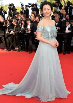 """Zhao Tao Photos - Zhao Tao attends the Closing Ceremony and """"A Fistful of Dollars"""" screening during the Annual Cannes Film Festival on May 2014 in Cannes, France. - Closing Ceremony & """"A Fistful Of Dollars"""" Screening - The Annual Cannes Film Festival Tadashi Shoji, Gray Dress, Blue Dresses, Formal Dresses, Tao, Cannes Film Festival 2014, Celebrity Red Carpet, Red Carpet Fashion, Gowns"""