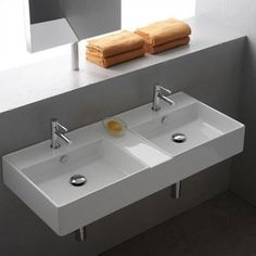 """Teorema Ceramic 41"""" Wall Mounted Sink with Overflow with Overflow"""