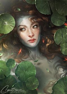 Shallows - Marvelous digital painting by Charlie Bowater. A woman is drawn to be lying in water full of lily pads and she is seemingly looking unto her side expecting someone to pass by.
