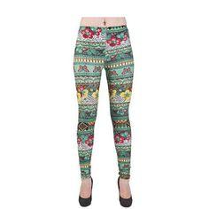Green Floral Aztec Print Leggings