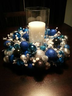 My Christmas ball centerpiece! Crafts by Amy haha. Quinceanera Ideas, Christmas Balls, Ornament Wreath, First Birthday Parties, Winter Wonder… Christmas Decorations Diy For Kids, Diy Christmas Decorations Easy, Holiday Centerpieces, Christmas Tablescapes, Holiday Wreaths, Christmas Themes, Yule Decorations, Christmas Crafts, Diy Weihnachten