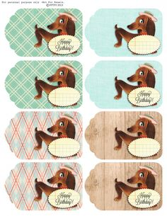 happy birthday vintage dachshund tags :: free pretty things for you Happy Birthday Printable, Happy Birthday Vintage, Birthday Freebies, Vintage Dachshund, Vintage Dog, Free Printable Tags, Free Printables, Printable Vintage, Card Sentiments