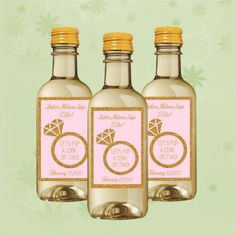 Bridal Shower Mini Wine Labels  Ring Mini Wine by AnnounceItFavors