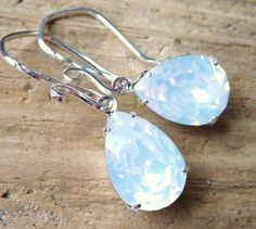 White Opal Crystal Earrings Swarovski Rhinestone by JBMDesigns