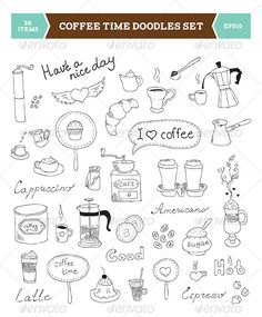 Coffee Doodles Vector Elements                                                                                                                                                                                 Plus
