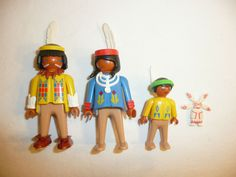 Playmobil Lot of 3 People Figures - Native American Family - Indians Western Kid #PLAYMOBIL