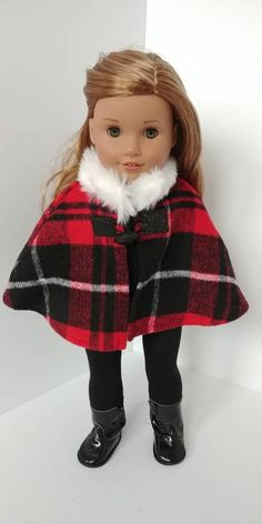 Custom American Girl Dolls, American Girl Clothes, Girl Doll Clothes, Doll Clothes Patterns, American Dolls, Poupées Our Generation, Civil War Dress, Design Blog, Red And Black Plaid