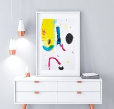 CMYK Study I  Dare with abstract art! Light up your decor with this original abstract painting. This primary colors art was hand painted on soft-white paper of 200 gms - 130 lbs (Paper is naturally slightly warped due to the use of acrylics). Makes a beautiful match with this one