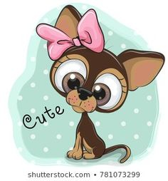 Greeting card puppy girl on a blue background Cartoon Dog, Cartoon Images, Cute Cartoon, Puppy Room, Chihuahua Art, Baby Puppies, Funny Puppies, Painting For Kids, Cute Illustration