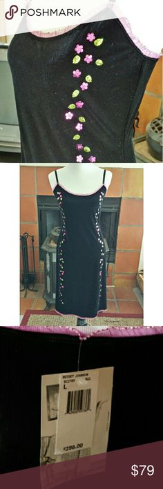 """Betsey Johnson Black Velvet Slipdress Fun, slinky Betsey dress, in stretchy poly/spandex black velvet, edged with pink mesh with silver sequins, and adorned with hot pink and light green  flower-and-leaf sequins down the front. New with tags, it's marked """"L"""", but id say it fits on the smaller side. Lying flat, it measures 17.5"""" across the bust,  15"""" at the waist, 18.5"""" at the hip-- but there is quite a bit of stretch to it. Length is about 25 """" from the waist to hem. Betsey Johnson Dresses"""