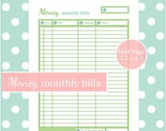 MONTHLY BILL CHECKLIST 1 Document by SpringHomePrintables