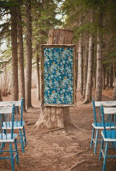 Fabric in frame as wedding ceremony backdrop (or some sort of fairy tale backdrop for photos)