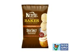 Kettle Brand Bakes potato chips, sea salt (gf,veg,vegan,cf, diabetes friendly) Nut: 20chips: 120cal, 2g protein, 21g carbs, 2g fiber, 3g fat, 0.5g sat fat, 135mg sodium, 0g sugar