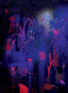 'Animal Party' glow-in-the-dark wallpaper by Haas Brothers and Flavor Paper. Haas Brothers' unique mural is inspired by the 1974 documentary Animals are Beautiful People in which different animals live harmoniously in a lush oasis, occasionally becoming intoxicated on fermented marula fruit. The unabashed illustrations are enhanced by being printed in equal value colours; their vibrant, neon tones almost appear grey when one squints. A final flourish comes in the use of glow-in-the-dark ink.