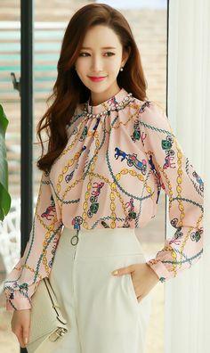StyleOnme_Luxury Chain Print Blouse #soft #pastel #pink #chain #luxury #classy #blouse #koreanfashion #kstyle #seoul #kfashion #elegant #feminine