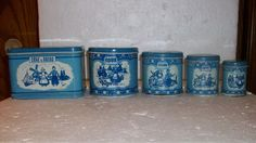 VINTAGE WOLVERINE SUPPLY/MFG CO. TIN LITHO TOY DELFT 5 PIECE CANISTER SET/1940'S #Wolverine