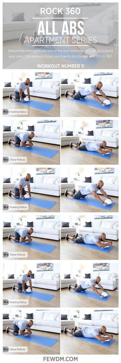 Abdominal rollouts on your elbows are comfortable effective and only possible with ROCK 360!  Workout #5 in the Apartment series, All Abs.
