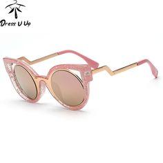 4a6d6a8751dd5 2016 Top Moda Triângulo Do Vintage Rodada óculos de Sol Das Mulheres  Designer De Marca Olho