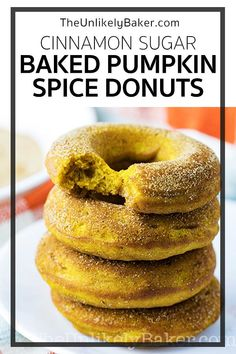 Baked pumpkin spice donuts are made for fall. Filled with your favourite fall flavours like cinnamon, nutmeg and ginger, plus a generous helping of pumpkin puree. Add cinnamon sugar and you have donuts you'd want to enjoy with your coffee or tea all season long. Follow along with step-by-step video instructions. #videorecipe #pumpkinspice #pumpkindonut #bakeddonut