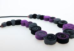 Felt jewelry  Felt necklace  Long necklace  Purple by BeadABoo, €30.00