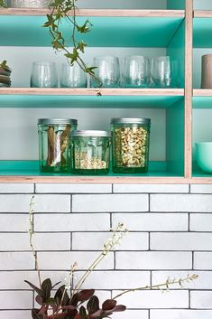 green plywood shelves Green Plywood, Plywood Shelves, Kitchen Shelves, Open Kitchen, Really Cool Stuff, Projects, Inspiration, Furniture, Home Decor