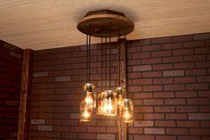 Mason Jar light/ Chandelier/ Reclaimed Wood and 7 Pendants.