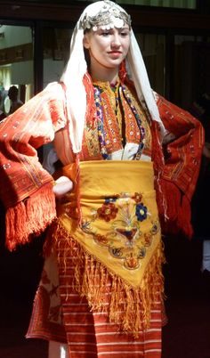 Traditional folk dancer, from Bitola (southern  Macedonia).  Clothing style: early 20th century.