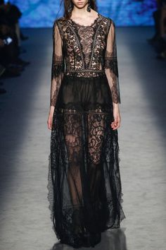 Long Black Tulle Dress - FALL WINTER 2016 ALBERTA FERRETTI - in preorder on www.PRECOUTURE.com