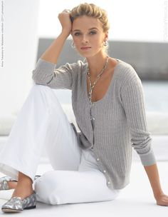 I like the grey sweater with white pants, but don't like the wide legs on the pants.