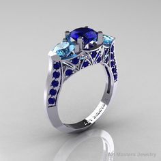 Modern 10K White Gold Three Stone Blue Sapphire Blue Topaz Solitaire Engagement Ring Wedding Ring R250-10KWGBTBS-1