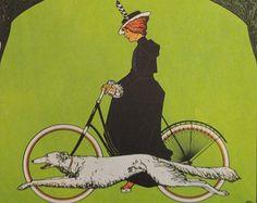 Vintage Bike Poster, Victoria Cycle Riding Bike Dog, Pneus Pirelli Child Bike, Vintage Bicycle Poster Print, Jack Rennert, USA