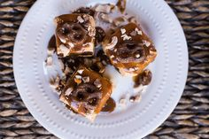 Double-Decker Peanut Butter and Caramel Brownies