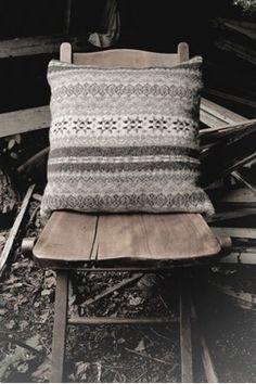 grey fairisle cushion, sparrow & co. Use as inspiration for custom painting furniture.